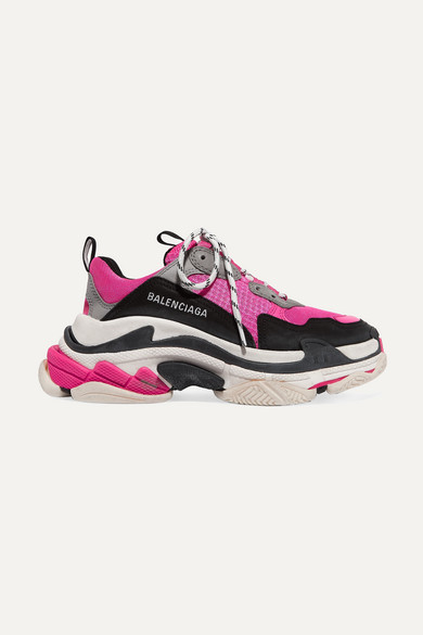 Balenciaga Triple S Logo-embroidered Leather, Nubuck And Mesh Sneakers - Pink