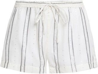SUNDRESS Metallic-trimmed Sequin-embellished Striped Gauze Shorts