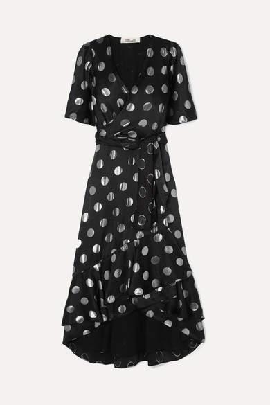 Diane von Furstenberg Sareth Fil Coupé Silk-blend Crepe De Chine Wrap-effect Dress - Black