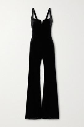 Galvan Eclipse Velvet Jumpsuit - Black