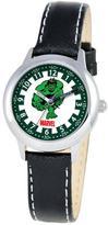 Marvel Kid's Hulk Stainless Steel Time Teacher Watch - Black Leather Strap