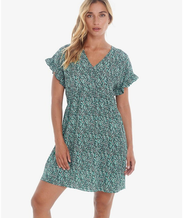 Thumbnail for your product : Le Temps Des Cerises Leaf Print Mini Dress with V-Neck