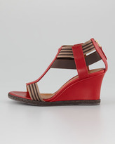 Fendi T-Strap Wedge Sandal, Red