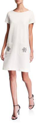 Joan Vass Crewneck Short-Sleeve Ponte Dress w/ Fancy Pocket Detail