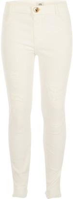 River Island Girls White ripped Molly mid rise jeggings