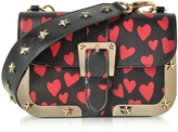RED Valentino Heart Printed Leather Shoulder Bag