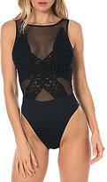 Becca by Rebecca Virtue Sicily High Neck Mesh Detail One Piece