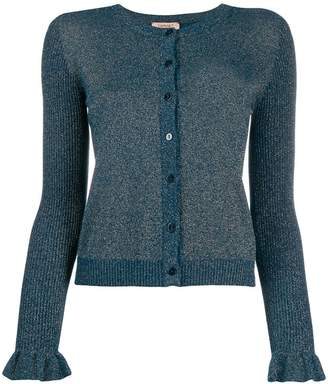 Twin-Set metallic-effect knit cardigan