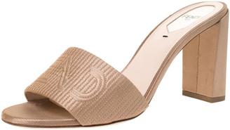 Fendi Beige Satin Logo Embroidered Block Heel Slides Size 38.5