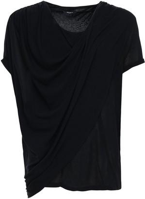 Balmain Asymmetric Draped Linen T-Shirt