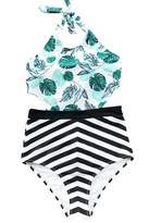 Seaselfie Women's Leaves Printing High Waisted Halter Padding One Piece Swimsuit Large