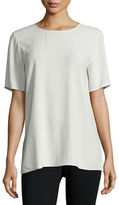 Eileen Fisher Short-Sleeve Silk Box Top, Plus Size