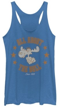 Fifth Sun Rocky and Bullwinkle All About The Bull Tri-Blend Racer Back Tank