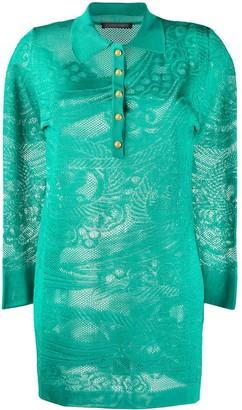 Alberta Ferretti long sleeve lace knit polo shirt