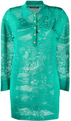 Alberta Ferretti Long Sleeve Lace Knit Polo Shirt