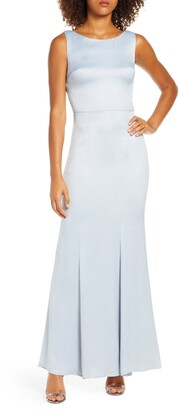 Chi Chi London Guldem Lace Back Satin Trumpet Gown