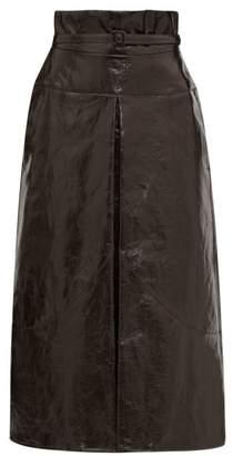 Lemaire Belted Coated-linen Midi Skirt - Womens - Dark Brown