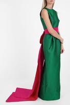Oscar de la Renta Contrast Belt Gown