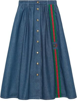 Gucci Interlocking G Web denim midi-skirt