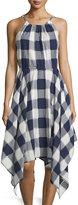 Neiman Marcus Gingham Handkerchief-Hem Sleeveless Dress, Navy/White