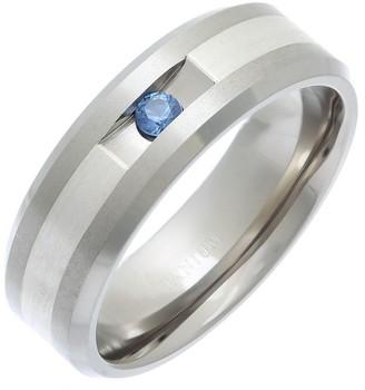 Theia Titanium and Silver Inlay Flat Court Blue Sapphire Matt 7mm Ring - Size X