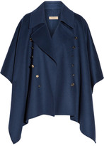 Burberry Button-detailed Wool And Cashmere-blend Poncho - Navy