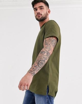 ASOS DESIGN longline t-shirt with crew neck and side splits in khaki
