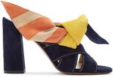 Chloé Navy & Multicolor Nellie Mules