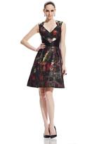 Theia 882519 Metallic Tartan Plaid Cocktail Dress