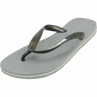 Havaianas Men's Top Logo Filete Flip Flop Sandal Steel Grey/Blue 9/10 M US