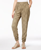 Rewash Juniors' Printed Pleated Ruched Soft Pants