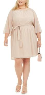 City Studios Trendy Plus Size Tie-Waist Metallic Dress