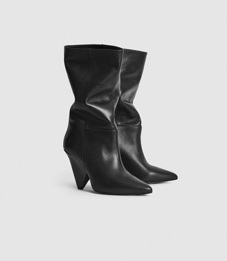 Reiss Jax - Leather Calf Length Boots in Black