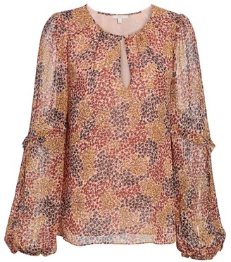 Joie Baltasar Micro-Floral Keyhole Puff-Sleeve Silk Blouse