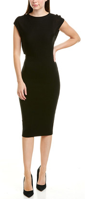 Alice + Olivia Shara Twisted Back Wool-Blend Sheath Dress