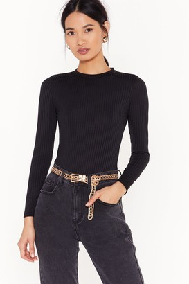 Nasty Gal Womens Get One Thing Tight Ribbed Bodysuit - black - 8