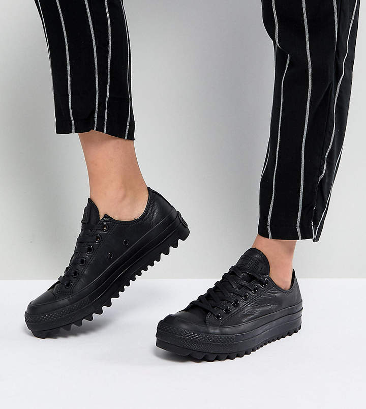 Converse Chuck Taylor All Star Lift Ripple Ox Trainers In Black