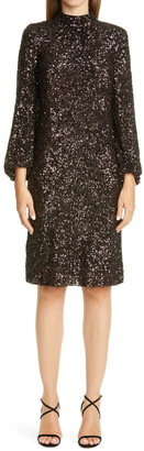Lafayette 148 New York Axton Sequin Long Sleeve Shift Dress