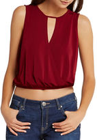 BCBGeneration Solid Surplice-Front Top