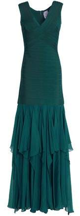 Herve Leger Ruffled Chiffon And Bandage Gown