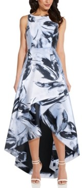 Adrianna Papell Floral Jacquard High-Low Gown