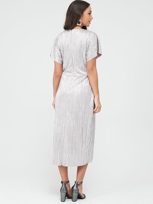 Wallis Plisse Twist Front Dress - Blush