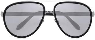 Linda Farrow Aviator-style Silver-tone And Acetate Sunglasses