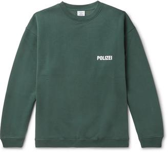 Vetements Oversized Logo-Print Fleece-Back Cotton-Blend Jersey Sweatshirt