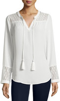 Neiman Marcus Rope Tassel Lace-Inset Tunic, Eggshell