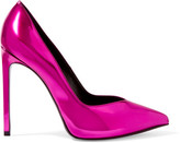 Saint Laurent Paris Metallic Leather Pumps - Fuchsia