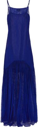 Akris Pleated Lace Maxi Dress