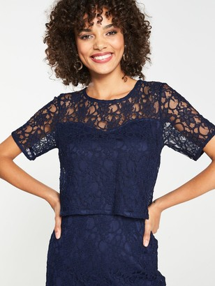 Very Lace Pencil Midi Dress - Navy