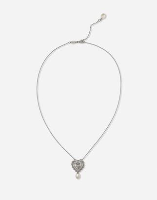 Dolce & Gabbana Devotion Necklace In White Gold With Diamonds And Pearls