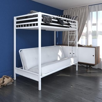 DHP Miles Twin over Futon Metal Bunk Bed with Ladder for Kids, White
